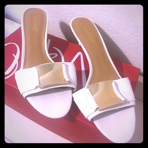 White kitten heels, never worn